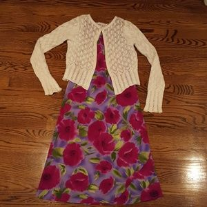 My Michelle, Purple Floral Dress with Sweater.